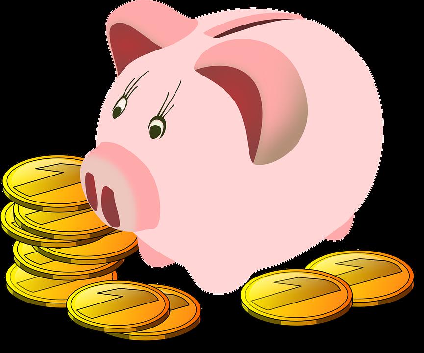 Pengagris som visar på sparade pengar från att träna hemma